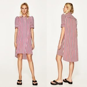 ZARA Puff Sleeve High Low Striped Shirt Dress